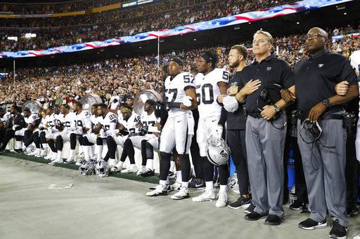 Some members of the Oakland Raiders sit on the bench during the national anthem before an NFL football game against the Washington Redskins in Landover, Md., Sunday, Sept. 24, 2017. (AP Photo/Alex Brandon)The Associated Press
