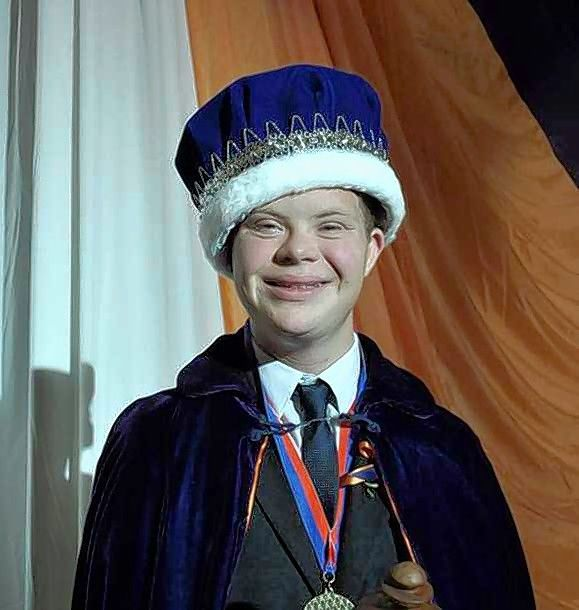 Buffalo Grove High School senior Brett Wilkinson, who has Down syndrome, is all smiles after being crowned homecoming king.