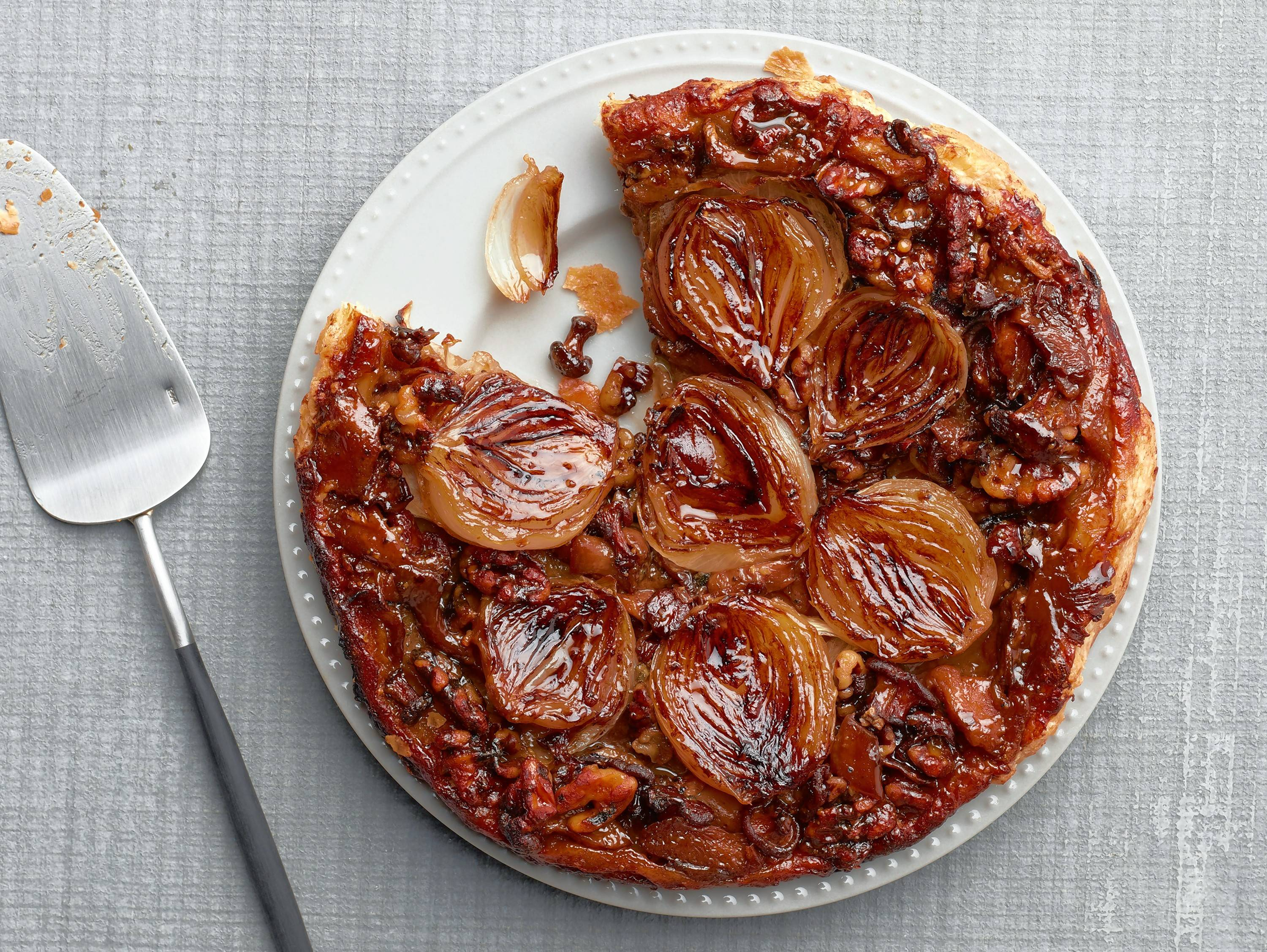 Onion, Walnut And Mushroom tarte Tatin.