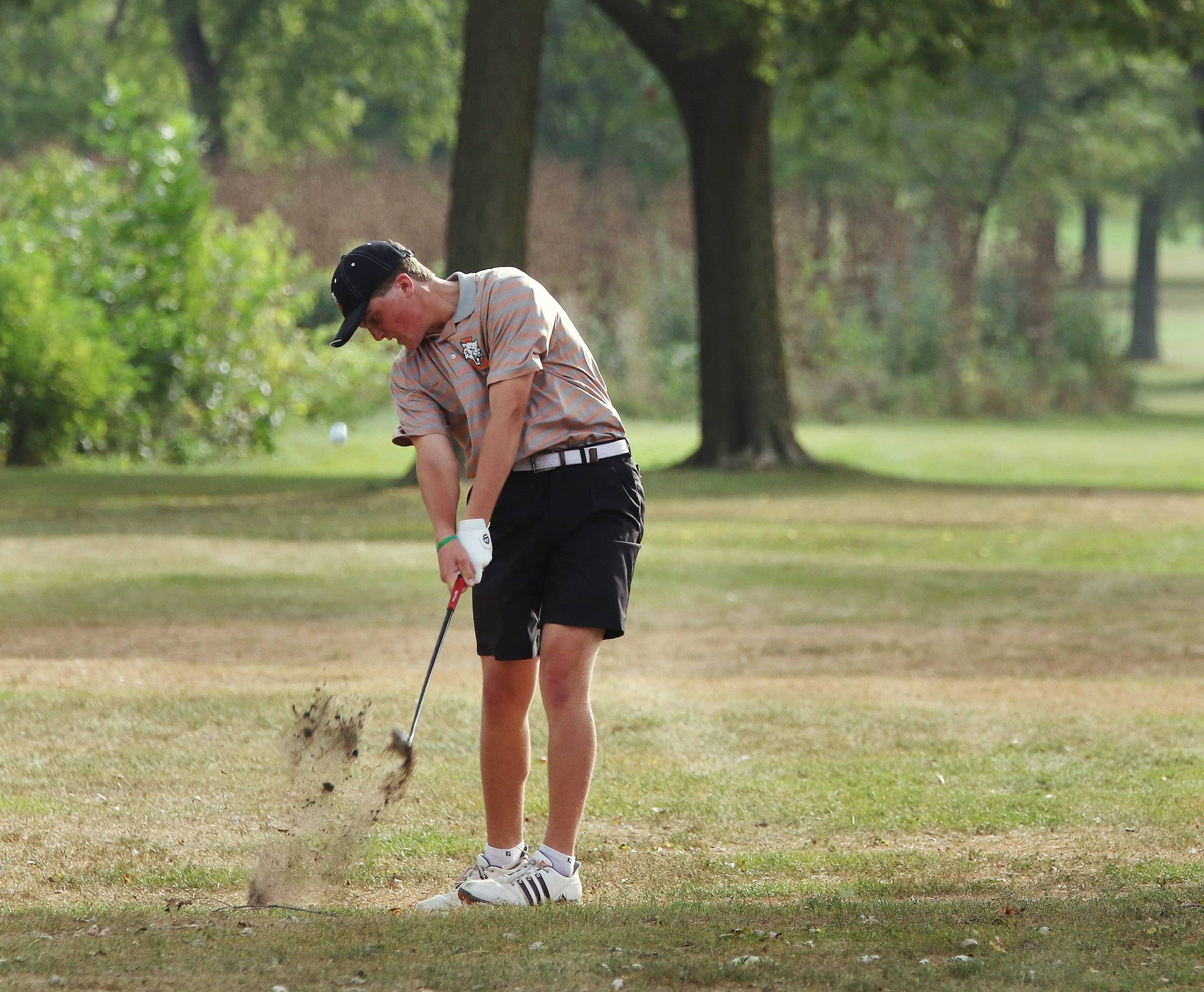 Libertyville golfer Derek Calamari hits the ball on the fourth hole during the North Suburban Conference tournament on Tuesday at Willow Glen Golf Course in North Chicago.