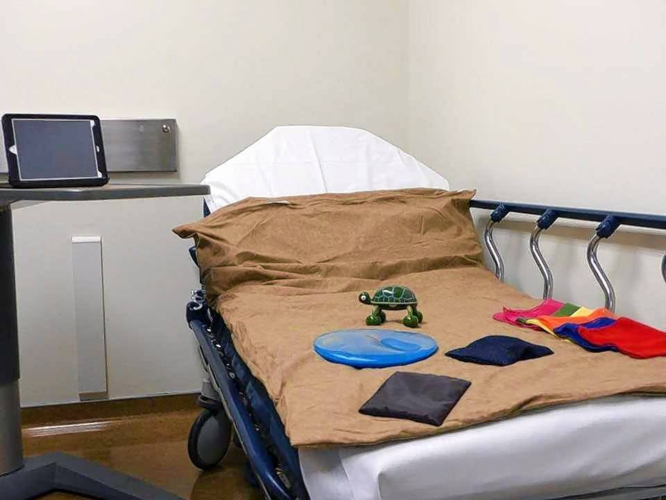 An iPad, weighted blanket and various sensory toys keep developmentally disabled patients calm while waiting to be examined in the Emergency Department of Northwest Community Hospital. Two new sensory rooms are available to patients who are overwhelmed by the sights, sounds and pace of an emergency room.