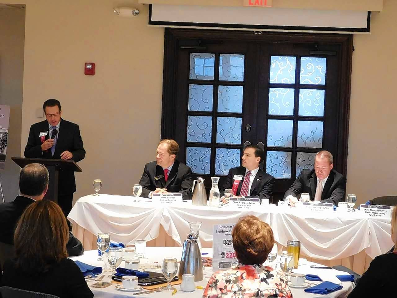 Guests listen to legislative leaders at last year's Barrington Area Chamber of Commerce Legislative Breakfast. This year's breakfast will be Wednesday, Oct. 4, at The Garlands of Barrington.
