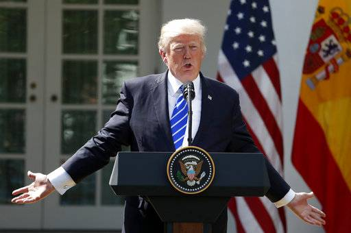 President Donald Trump speaks during a news conference with Spanish Prime Minister Mariano Rajoy in the Rose Garden of the White House, Tuesday, Sept. 26, 2017, in Washington.
