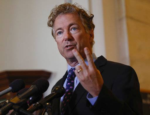 "Sen. Rand Paul, R-Ky., speaks during a news conference on Capitol Hill in Washington, Monday, Sept. 25, 2017. Paul says he will not vote for the latest Republican health car bill, calling last-minute changes that would send more money to his state and those of other undecided senators as ""suspicious."""
