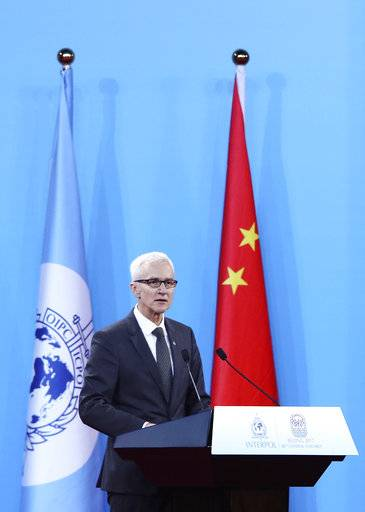 Secretary General of Interpol Jurgen Stock speaks during the 86th Interpol General Assembly at Beijing National Convention Center Tuesday, Sept. 26, 2017 in Beijing. (Lintao Zhang/Getty Images via AP)