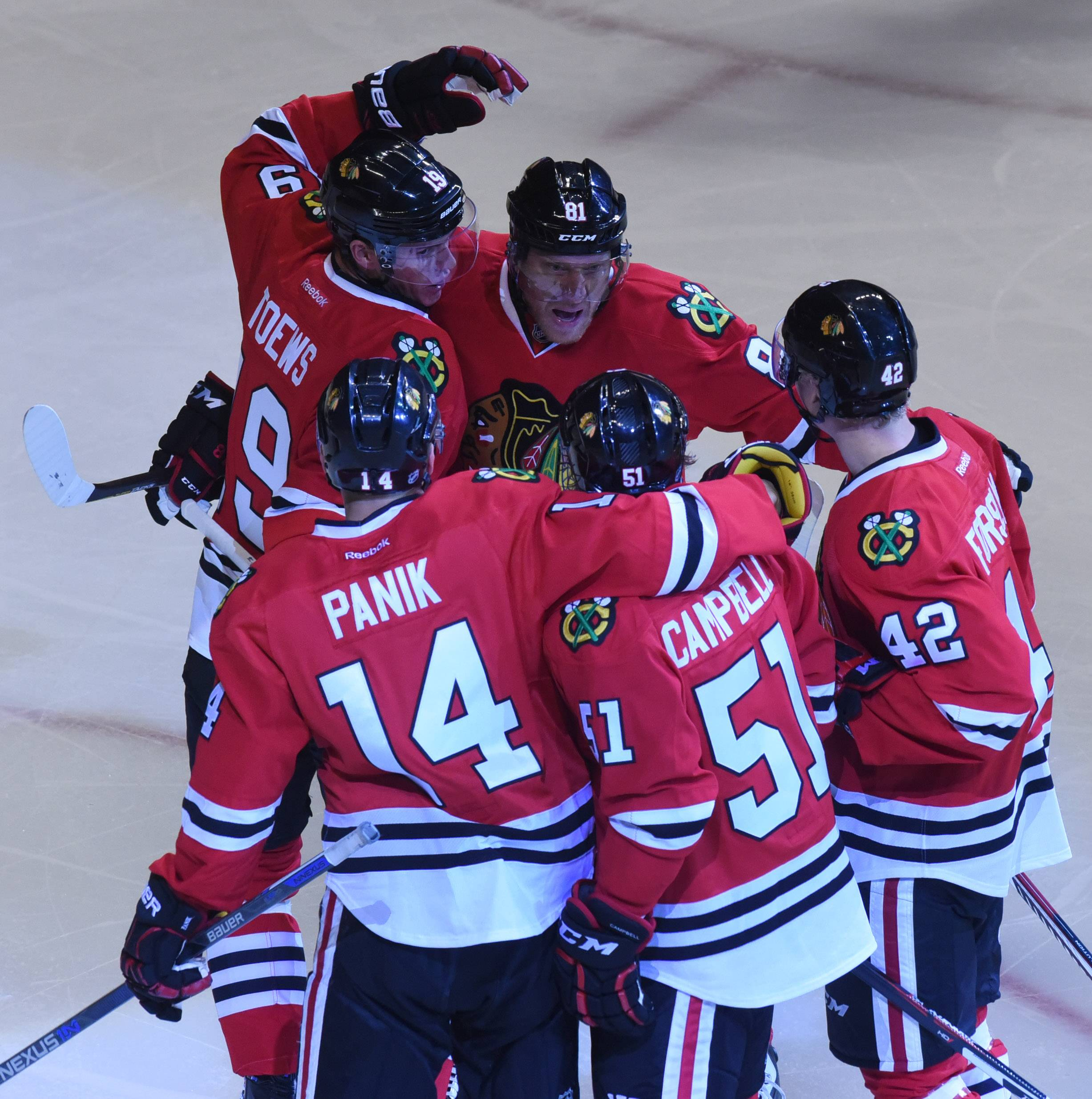 Left wing Richard Panik celebrates with his teammates after scoring on a first-period power play against the St. Louis Blues last season. The Blackhawks haven't had the most potent power plays in the Joel Quenneville era, and that's not the end of the world to Kevin Dineen. The Hawks' 53-year-old assistant would rather see his special-teams unit come through in the clutch more often.