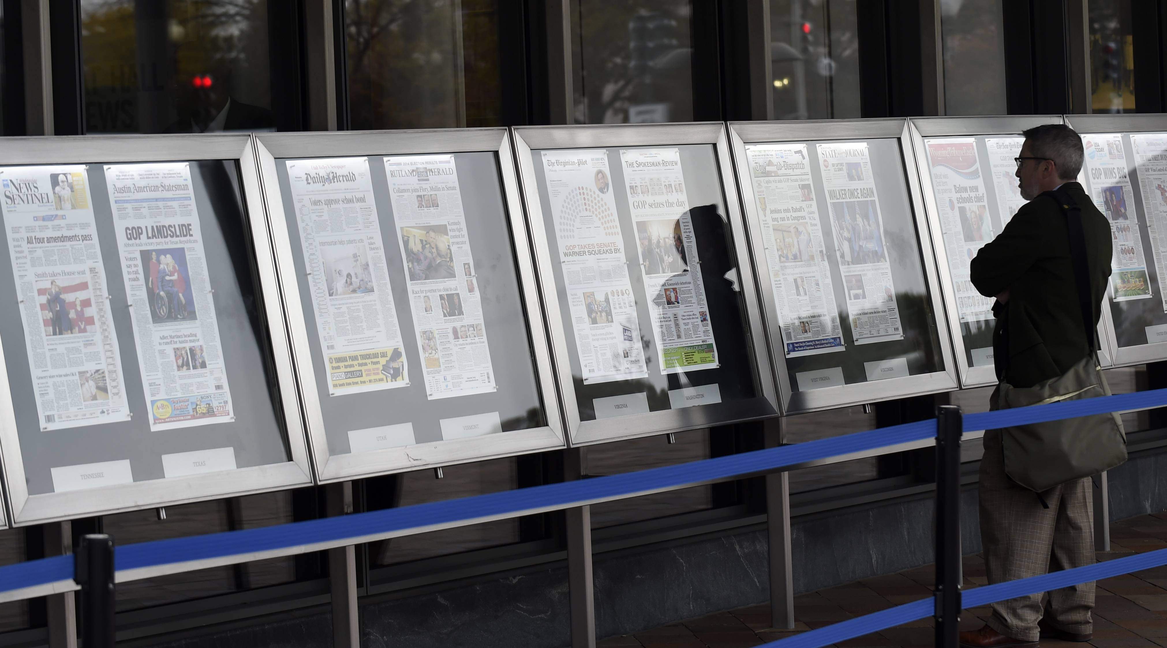 The Newseum features newspapers from across the country.