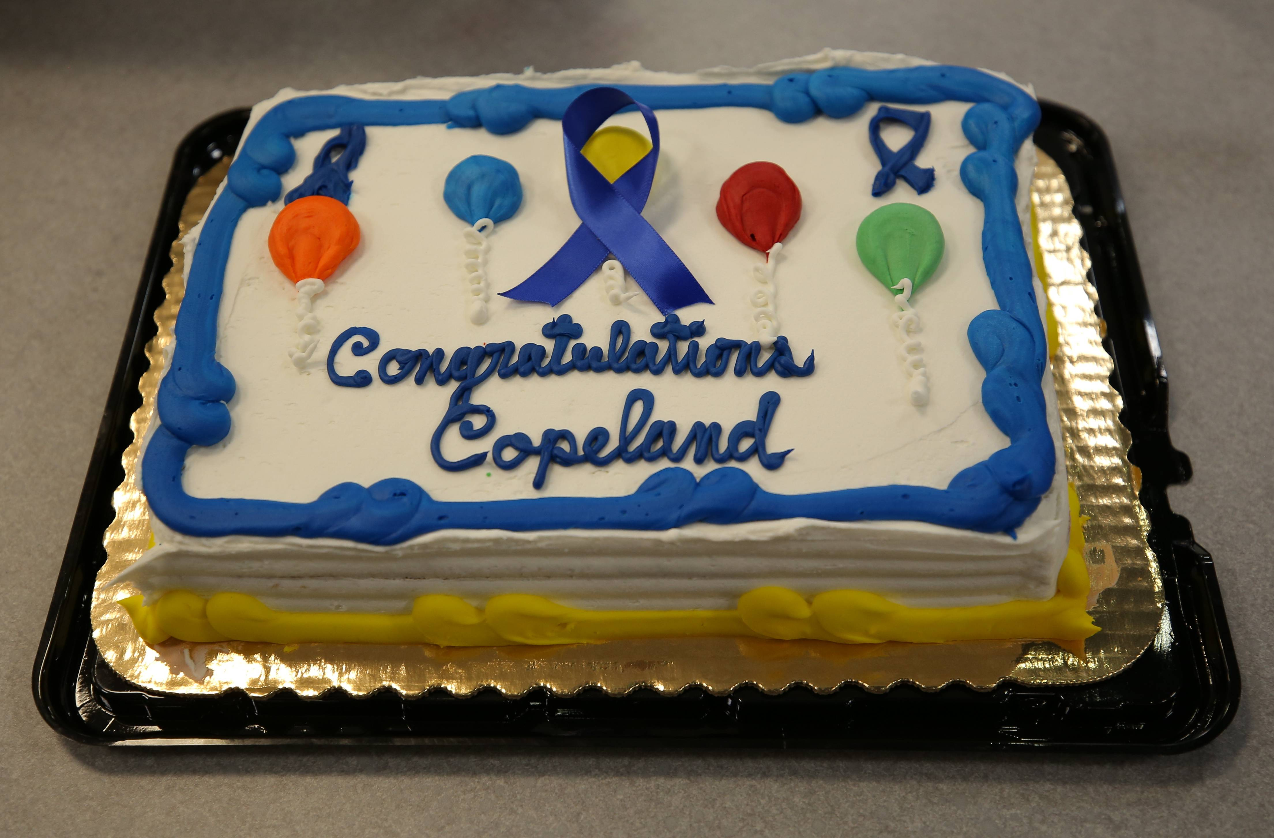 A cake celebrates Copeland Manor School's 2017 National Blue Ribbon School Award recognition.