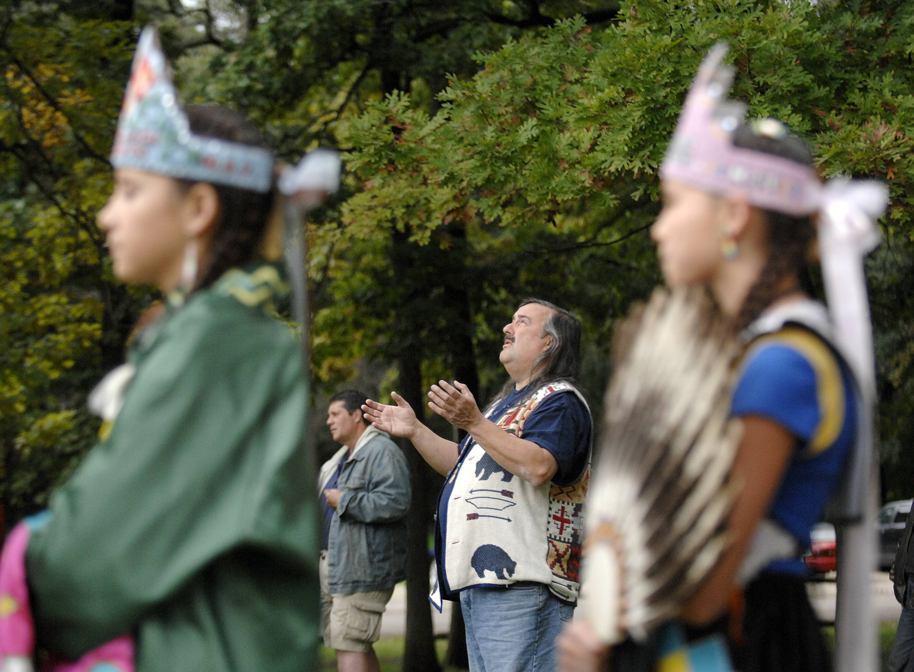 "Elder Joseph ""Standing Bear"" Schranz, founder and president of Midwest SOARRING (Save Our Ancestors' Remains and Resources Indigenous Network Group), gives the annual Blessing of the Bison at Lords Park in Elgin. This year's event will be Saturday, Oct. 7."