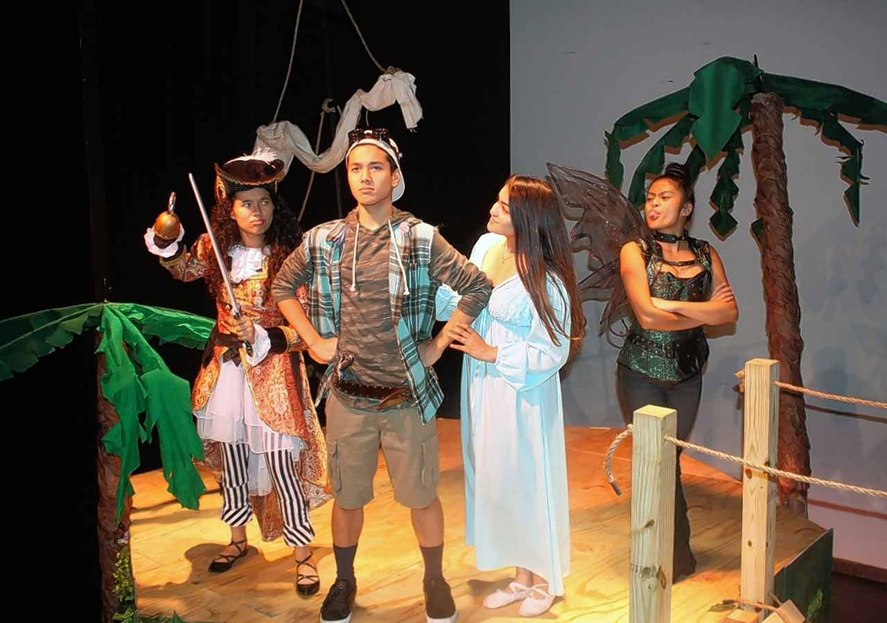 "Maine East High School will present a modern twist on ""Peter Pan."" From left are Mayah Rotter as Hook; Palash Ranjit as Peter; Karisma Kohl as Wendy and Jasmine Moraga as Tinkerbell."