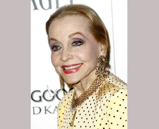 "FILE - In this Oct. 27, 2011 file photo, Anne Jeffreys arrives at amfAR's Inspiration Gala in Los Angeles. Jeffreys, an actress and opera singer who starred as Marion Kerby in the 1950s TV series ""Topper,"" died, Wednesday, Sept. 27, 2017, at age 94."