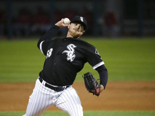 Chicago White Sox starting pitcher Dylan Covey delivers during the second inning of a baseball game against the Los Angeles Angels on Thursday, Sept. 28, 2017, in Chicago.