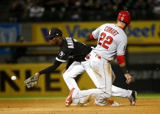 Los Angeles Angels' Kaleb Cowart (22) steals second on a throw from Chicago White Sox catcher Rob Brantly to Tim Anderson during the fifth inning of a baseball game Thursday, Sept. 28, 2017, in Chicago.