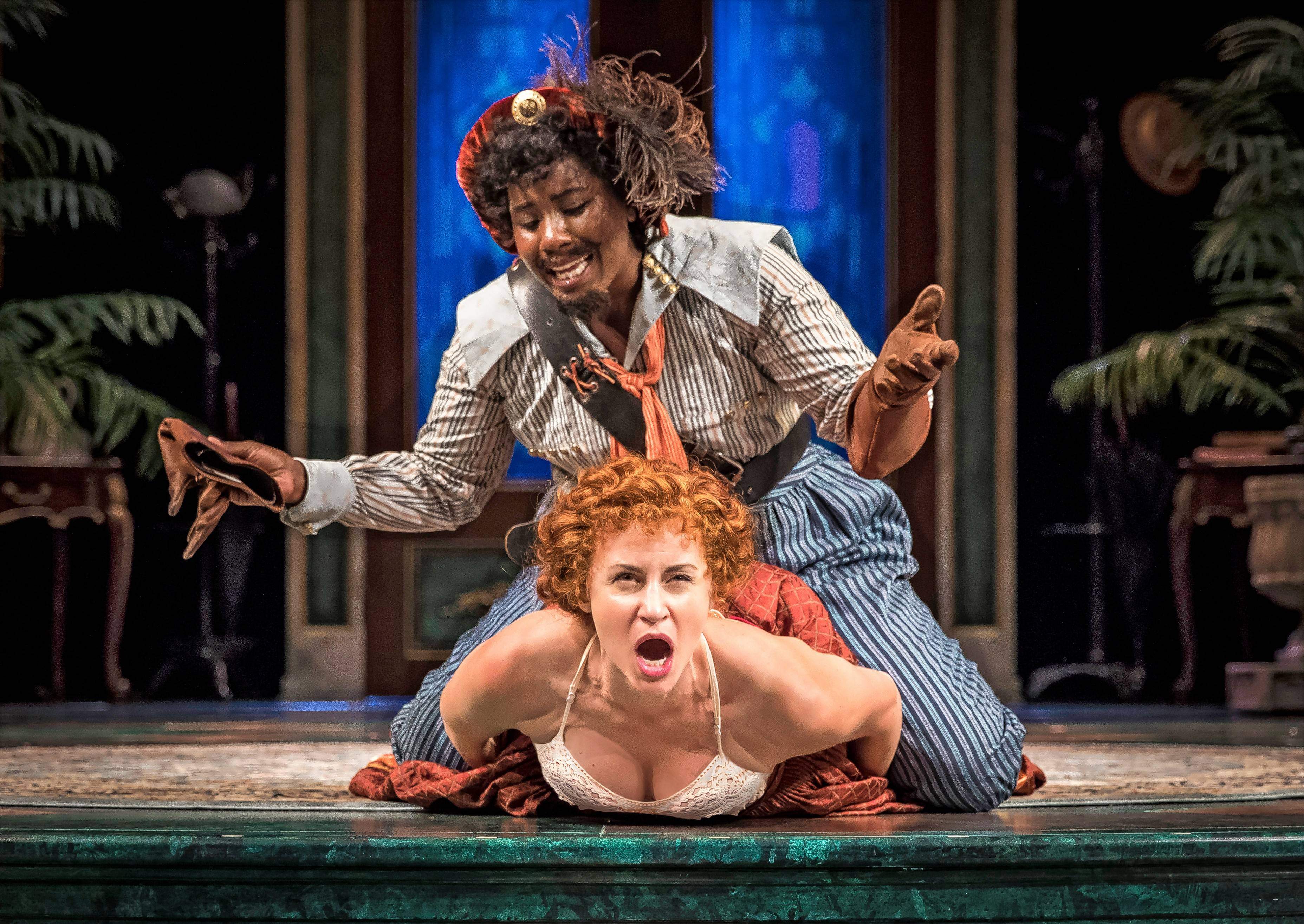 "Petruchio (Crystal Lucas-Perry), top, does his best to tame Katherine (Alexandra Henrikson) in Chicago Shakespeare Theater's all-female production of William Shakespeare's ""The Taming of the Shrew."""