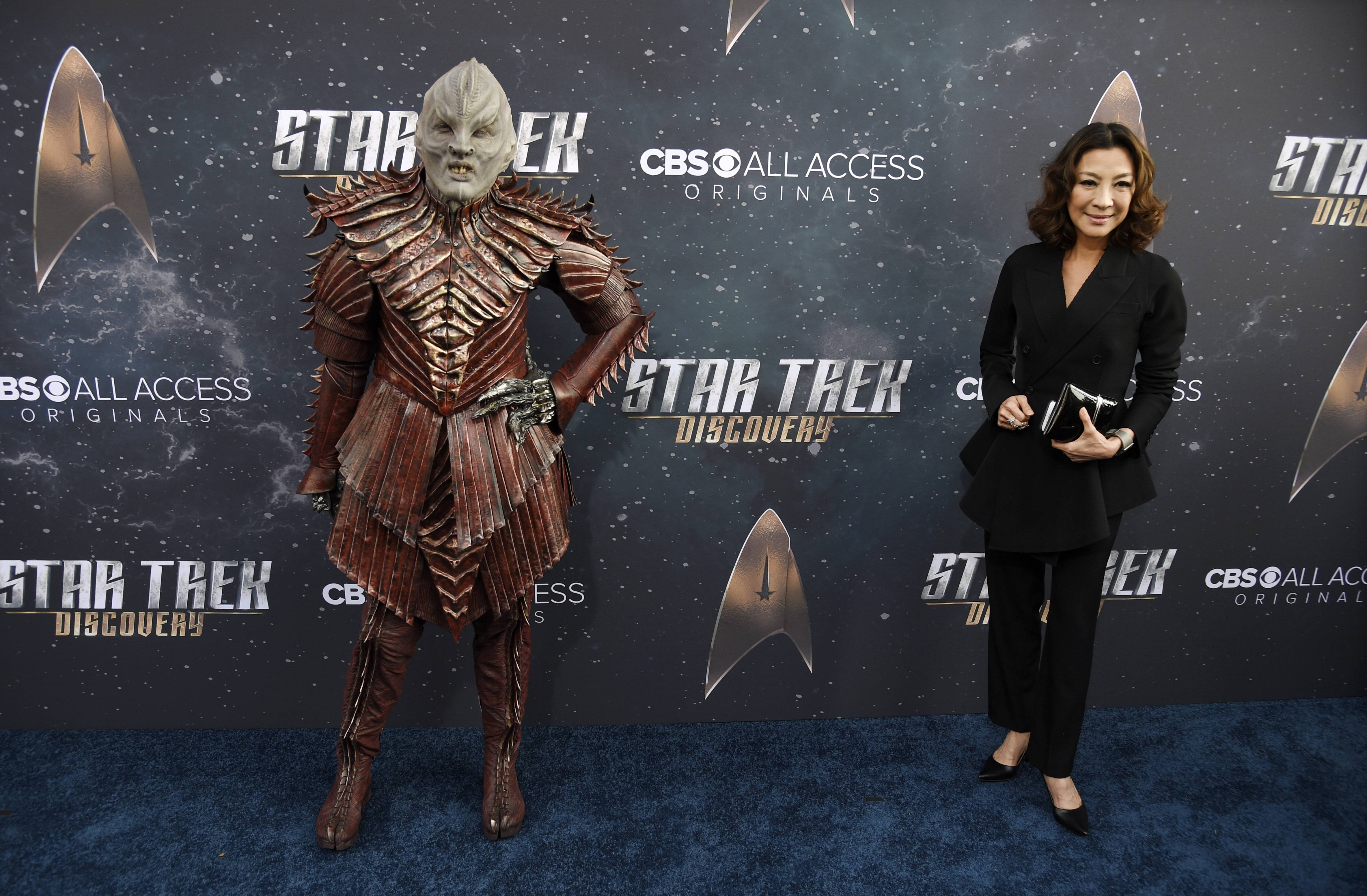 """Star Trek: Discovery"" guest star Michelle Yeoh, right, poses alongside a radically redesigned Klingon character from the show at last week's premiere of the new CBS All Access series in Los Angeles."