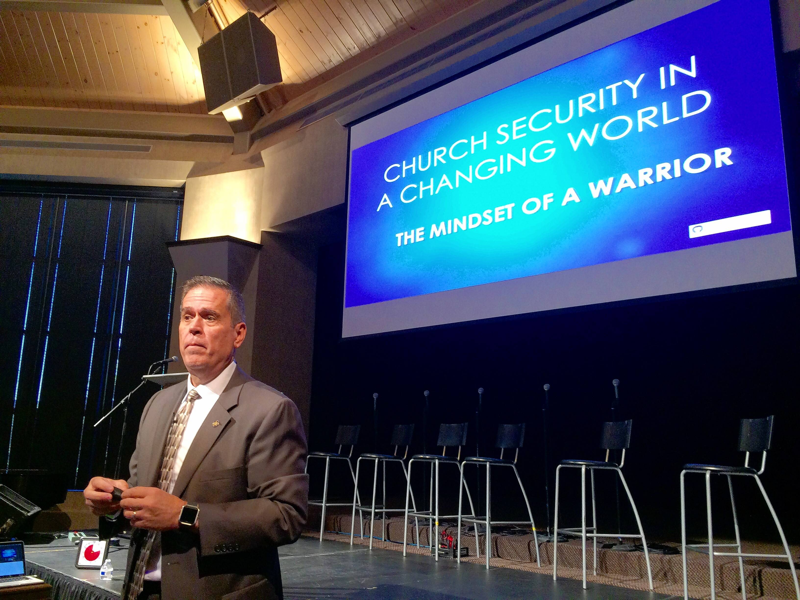 Willow Creek Community Church in South Barrington hosted a church security conference Friday. Among the speakers was Tim Miller, a former Secret Service special agent whose LionHeart Services International Group is leading the two-day seminar.