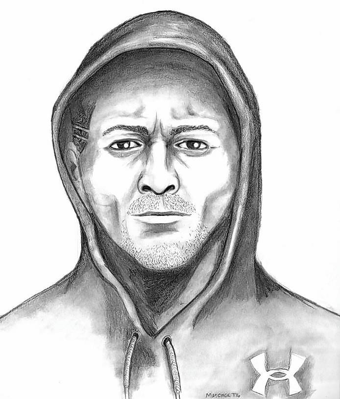 Gurnee Police have released this composite sketch of the man suspected of a sexual assault reported Sunday on a wooded walking path in the village.