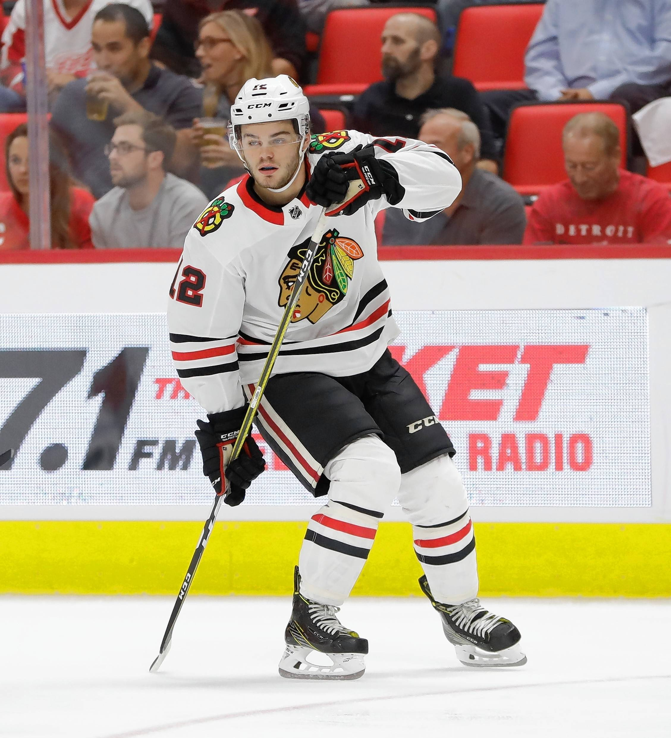 Chicago Blackhawks right wing Alex DeBrincat could make the final roster with how well he's played this preseason. DeBrincat scored in Thursday night's matchup against Detroit and had a second goal called off after goalie interference by Richard Panik.
