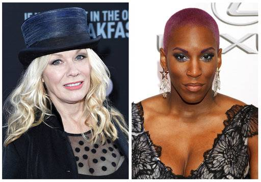 "In this combination photo, Nancy Wilson, the guitarist for the legendary band Heart, appears at the premiere of ""If You're Not In The Obit, Eat Breakfast"" on May 17, 2017, in Beverly Hills, Calif., left, and Liv Warfield appears at the 46th NAACP Image Awards at the Pasadena Civic Auditorium on Feb. 6, 2015, in Pasadena, Calif. (AP Photo/File)"