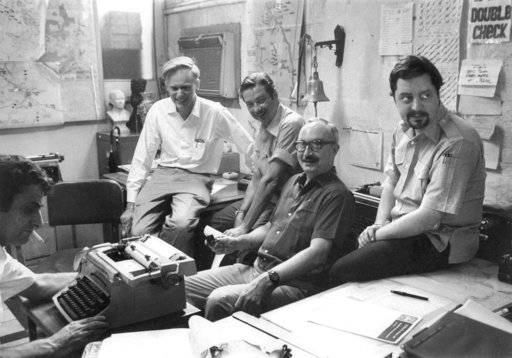 FILE - This April 28, 1972 file photo shows Saigon bureau chiefs, from left, George Esper (1973-75), Malcolm Browne (1961-64), George McArthur (1968-69), Edwin Q. White (1965-67), and Richard Pyle (1970-73). Pyle, an Associated Press reporter whose career spanned a half-century of war, catastrophe and other indelible stories has died in New York, Thursday, Sept. 28, 2017. Richard Pyle was 83.