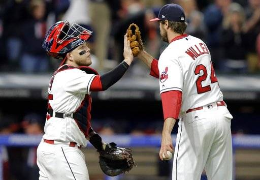 Cleveland Indians relief pitcher Andrew Miller, right, is congratulated by catcher Roberto Perez after theydefeated the Chicago White Sox in a baseball game, Friday, Sept. 29, 2017, in Cleveland.