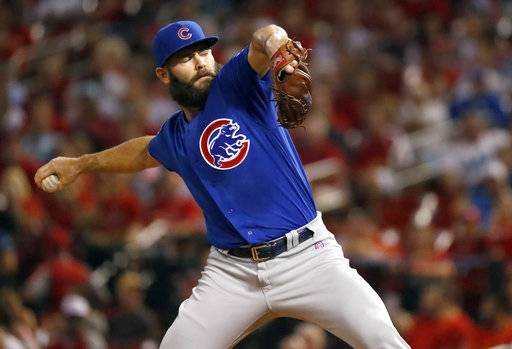 Chicago Cubs starting pitcher Jake Arrieta throws during the first inning of a baseball game against the St. Louis Cardinals on Tuesday, Sept. 26, 2017, in St. Louis. (AP Photo/Jeff Roberson)