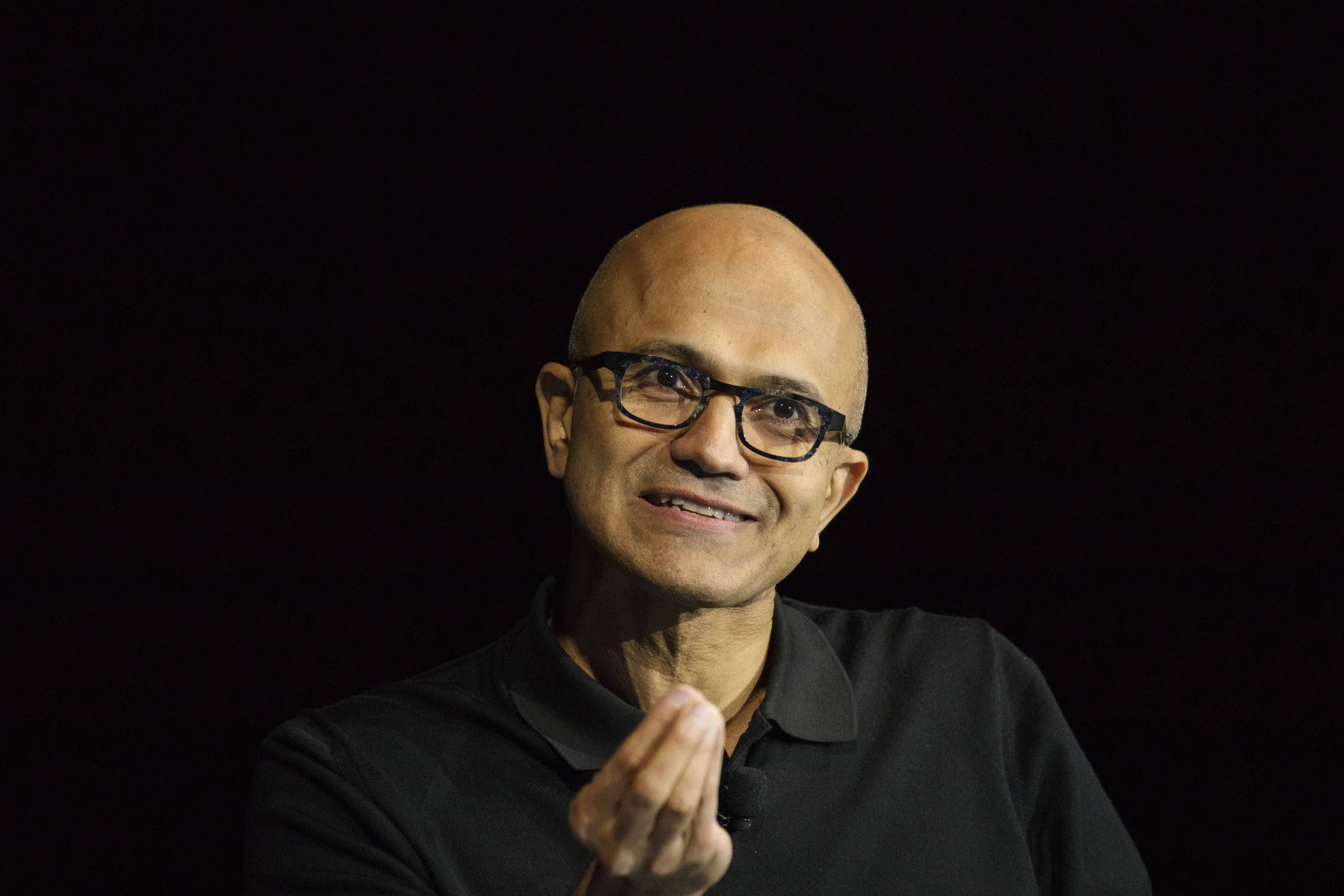 "Satya Nadella, chief executive officer of Microsoft, speaks during a conference in Laguna Beach, California, on Oct. 24, 2016. His book ""Hit Refresh"" is part memoir, part leadership guide, part futurist vision of technology."
