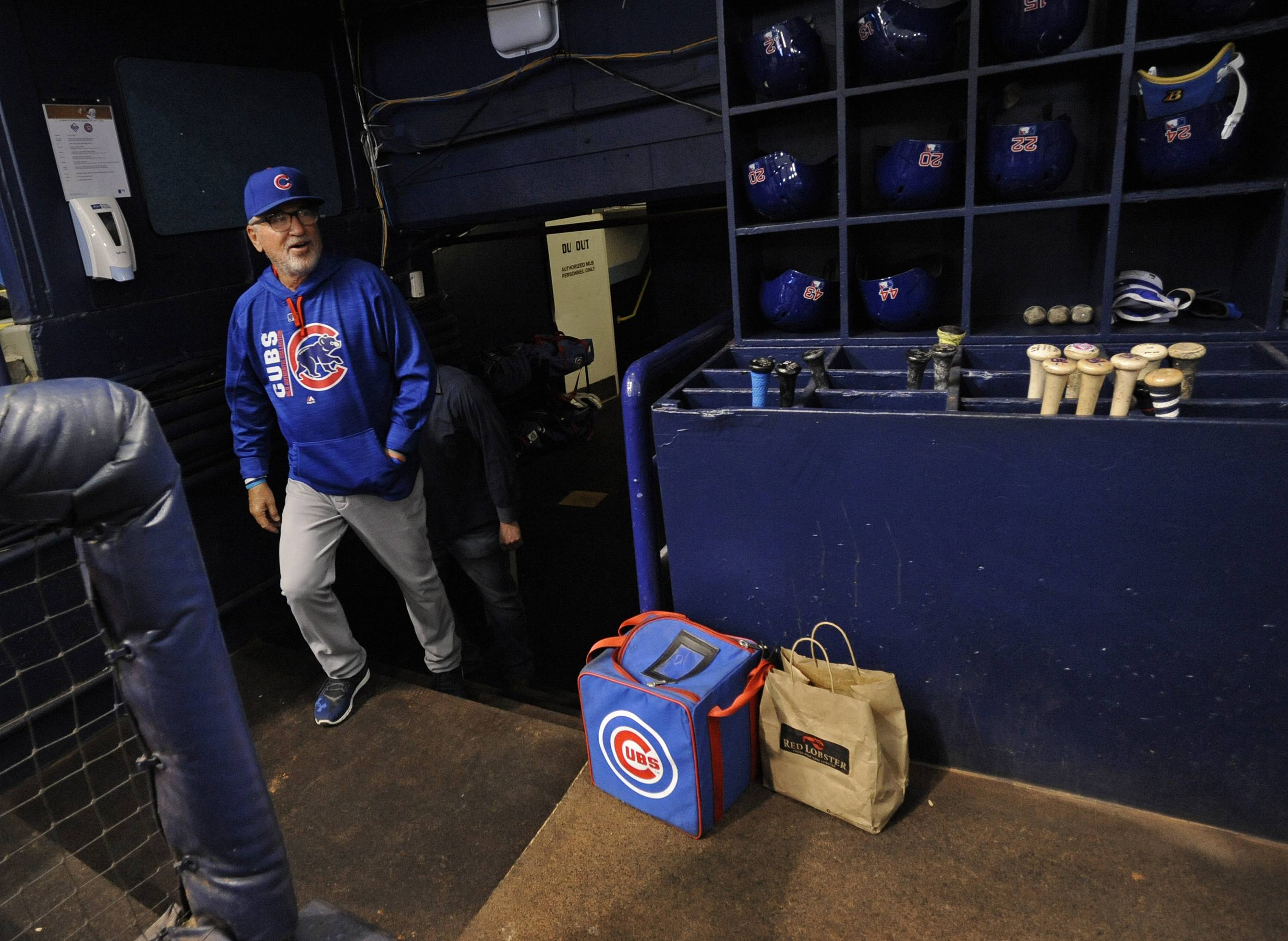 Chicago Cubs manager Joe Maddon walks into the visitor's dugout during warmups before a baseball game against the Tampa Bay Rays Tuesday, Sept. 19, 2017, in St. Petersburg, Fla.