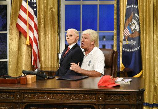 "In this image released by NBC, Kate McKinnon portrays Attorney General Jeff Sessions, left, and Alec Baldwin portrays President Donald Trump during the cold open for ""Saturday Night Live,"" on Sept. 30, 2017, in New York. (Will Heath/NBC via AP)"