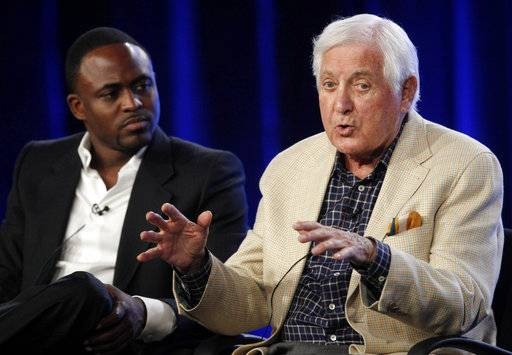 "FILE - in this August 3, 2009., file photo, actor and comedian Wayne Brady, left, looks on as television game show host Monty Hall answers a question about the new ""Let's Make A Deal"" game show at the CBS Summer Press Tour in Pasadena, Calif. Former ""Let's Make a Deal"" host Hall has died after a long illness at age 96. His daughter Sharon Hall says he died Saturday, Sept. 30, 2017, at his home in Beverly Hills, Calif."