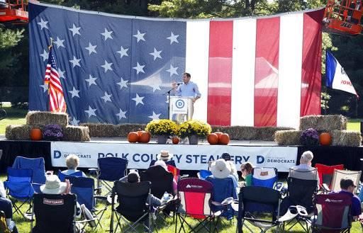 U.S. Rep. Seth Moulton, D-Mass., speaks during the Polk County Democrats Steak Fry, Saturday, Sept. 30, 2017, in Des Moines, Iowa.