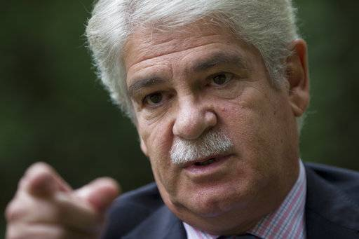"Spain's Foreign Minister Alfonso Dastis talks during an interview with The Associated Press about the Catalonia's referendum at the Foreign Ministry in Madrid, Spain, Saturday, Sept. 30, 2017. Dastis said Saturday the Catalan government's plan is anti-democratic and runs ""counter to the goals and ideals"" of the European Union."