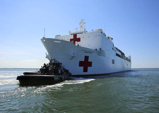 The Military Sealift Command hospital ship USNS Comfort (T-AH 20) departs Naval Station Norfolk to support hurricane relief efforts in Puerto Rico, Friday, Sept. 29, 2017 in Norfolk, Va.. The Department of Defense is supporting the Federal Emergency Management Agency, the lead federal agency, in helping those affected by Hurricane Maria to minimize suffering and is one component of the overall whole-of-government response effort. (Bill Mesta/U.S. Navy via AP)