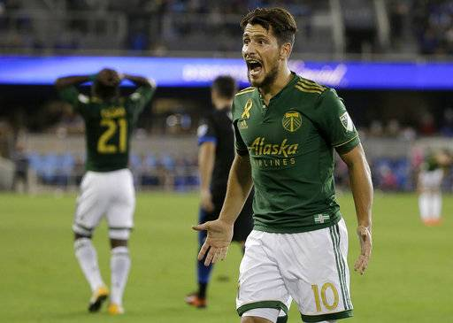 Portland Timbers midfielder Sebastian Blanco (10) reacts to a referee's call during the second half of an MLS soccer match between the San Jose Earthquakes and the Timbers in San Jose, Calif., Saturday, Sept. 30, 2017.