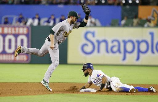 Texas Rangers Rougned Odor, right, steals second base against Oakland Athletics second baseman Jed Lowrie (8) during the fourth inning of a baseball game in Arlington, Texas, Saturday, Sept. 30, 2017.