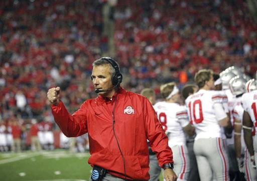 Ohio State head coach Urban Meyer reacts to a play during the first half of an NCAA college football game against Rutgers, Saturday, Sept. 30, 2017, in Piscataway, N.J.