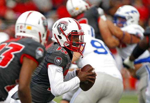 New Mexico quarterback Lamar Jordan (13) carries during the first half of an NCAA college football game against Air Force in Albuquerque, N.M., Saturday, Sep. 30, 2017.
