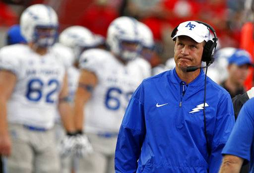 Air Force coach Troy Calhoun reacts during the first half of an NCAA college football game against New Mexico in Albuquerque, N.M., Saturday, Sep. 30, 2017.