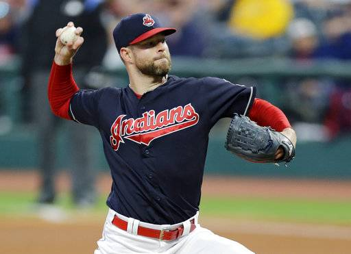 Cleveland Indians starting pitcher Corey Kluber delivers in the first inning of a baseball game against the Chicago White Sox, Saturday, Sept. 30, 2017, in Cleveland.