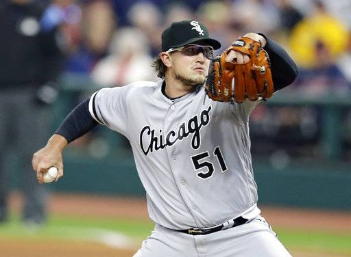 Chicago White Sox starting pitcher Carson Fulmer delivers in the first inning of a baseball game against the Cleveland Indians, Saturday, Sept. 30, 2017, in Cleveland.