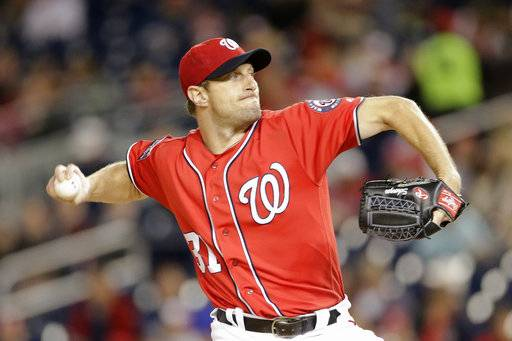 Washington Nationals starting pitcher Max Scherzer pitches during the first inning of a baseball game against the Pittsburgh Pirates, Saturday, Sept. 30, 2017, in Washington.