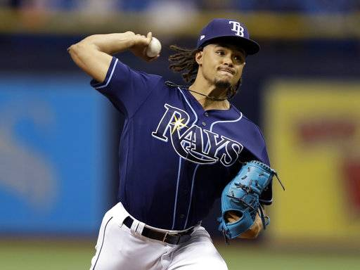 Tampa Bay Rays' Chris Archer pitches to the Baltimore Orioles during the first inning of a baseball game Saturday, Sept. 30, 2017, in St. Petersburg, Fla.