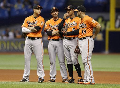 Baltimore Orioles, from left, Manny Machado, J.J. Hardy, Jonathan Schoop, and Chris Davis, stand together during a pitching change in the eighth inning of a baseball game against the Tampa Bay Rays, Saturday, Sept. 30, 2017, in St. Petersburg, Fla.