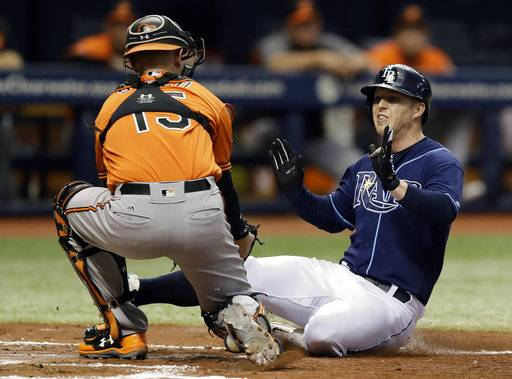 Tampa Bay Rays' Corey Dickerson, right, gets tagged out by Baltimore Orioles catcher Chance Sisco while trying to score on a fielder's choice by Brad Miller during the second inning of a baseball game Saturday, Sept. 30, 2017, in St. Petersburg, Fla.