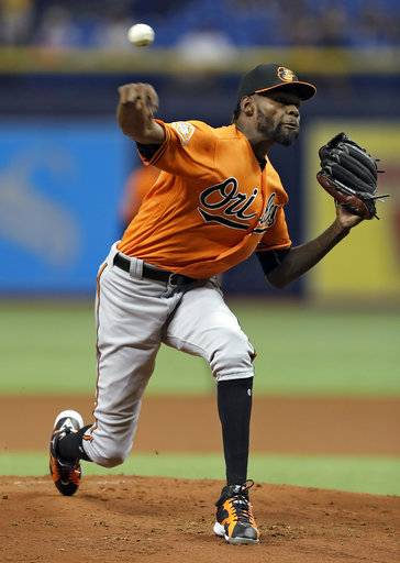 Baltimore Orioles pitcher Miguel Castro delivers to the Tampa Bay Rays during the first inning of a baseball game Saturday, Sept. 30, 2017, in St. Petersburg, Fla.