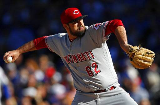 Cincinnati Reds' Jackson Stephens pitches against the Chicago Cubs during the first inning of a baseball game Saturday, Sept. 30, 2017, in Chicago.