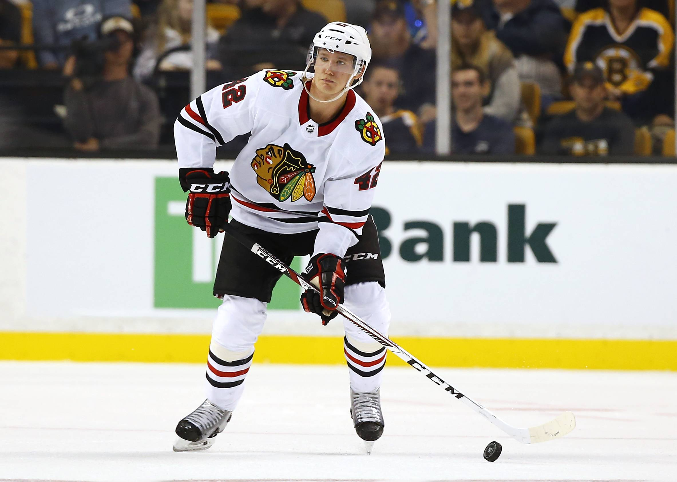 Chicago Blackhawks defenseman Gustav Forsling during the third period of the Bruins 4-2 win over the Chicago Blackhawks in an NHL preseason hockey game in Boston, Monday, Sept. 25, 2017.