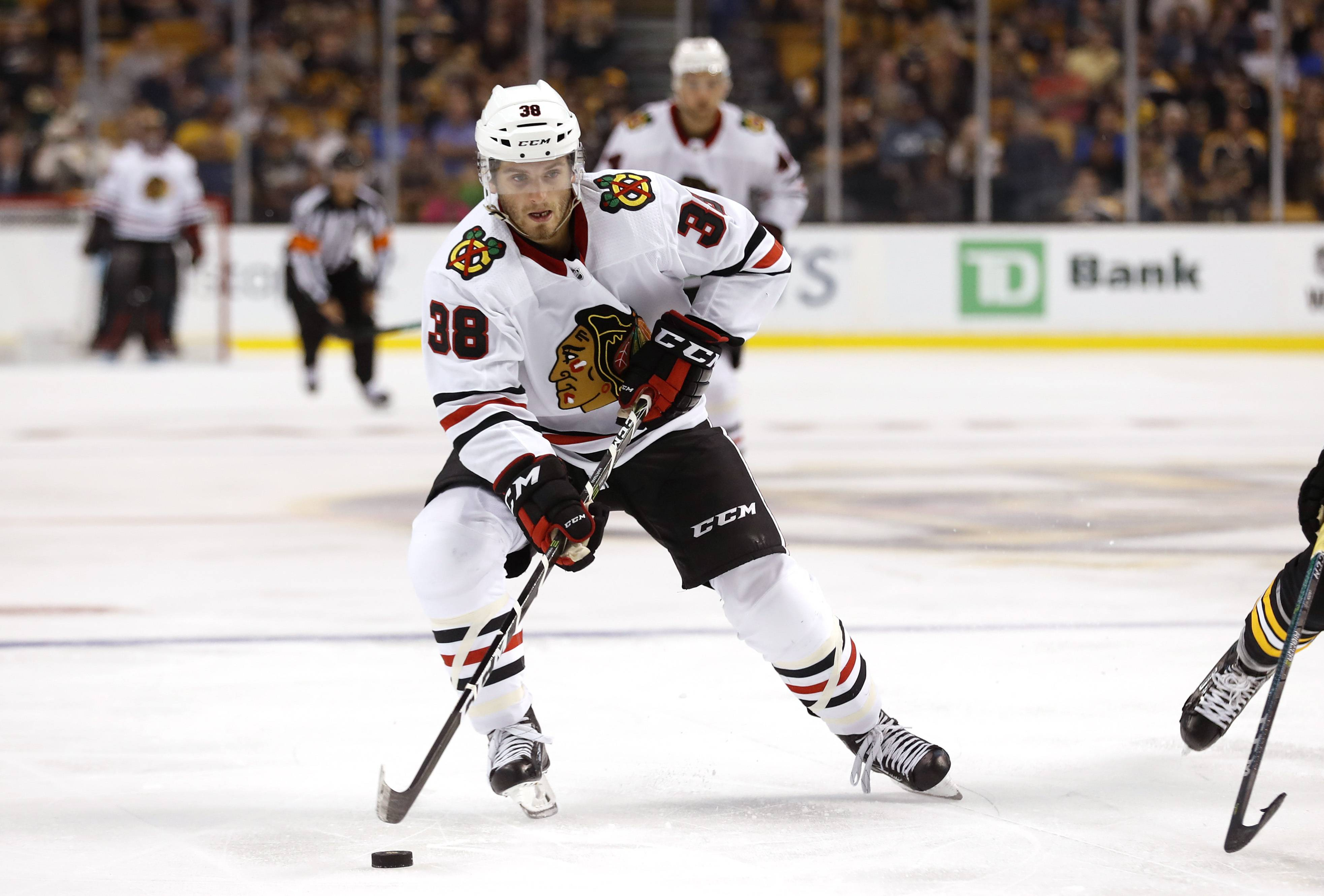 Chicago Blackhawks' Ryan Hartman during the third period of the Bruins 4-2 win over the Chicago Blackhawks in an NHL preseason hockey game in Boston, Monday, Sept. 25, 2017.