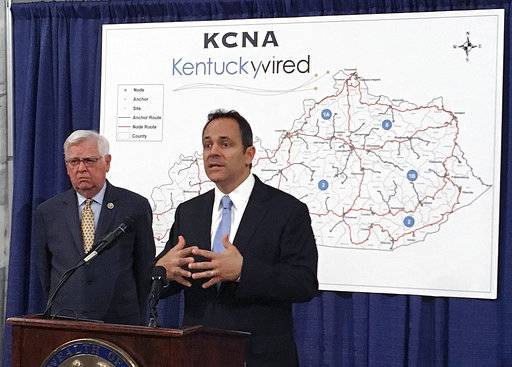 FILE- This Sept. 16, 2016 file photo, shows Republican Kentucky Gov. Matt Bevin, right, and U.S. Rep. Hal Rogers discussing the status of the statewide broadband network at the state Capitol in Frankfort, Ky. Launched with considerable fanfare in 2015, Kentucky Wire has been plagued by delays that have cost taxpayers $7 million in penalties. State Sen. Chris McDaniel has asked project officials to figure out how much it would cost for the state to get out of the deal. But others, including Republican Gov. Matt Bevin and U.S. Rep. Hal Rogers, say they are committed to seeing it through.