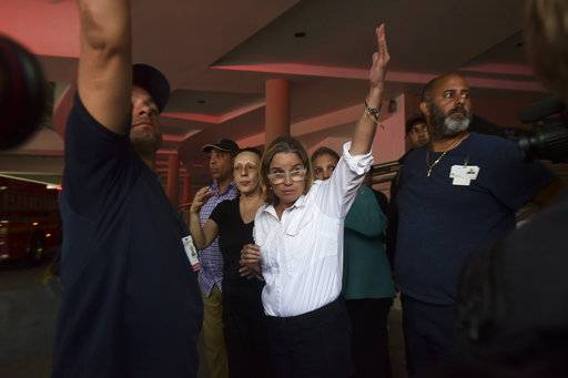 Mayor Carmen Yulin Cruz arrives at San Francisco hospital in Rio Piedras in the middle of an evacuation of about 35 patients after the failure of an electrical plant, in San Juan, Puerto Rico, Saturday, Sept. 30, 2017.